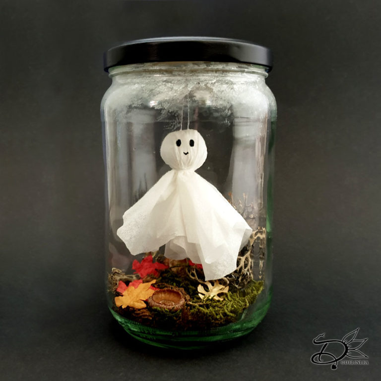 Jar with a ghost inside, DIY