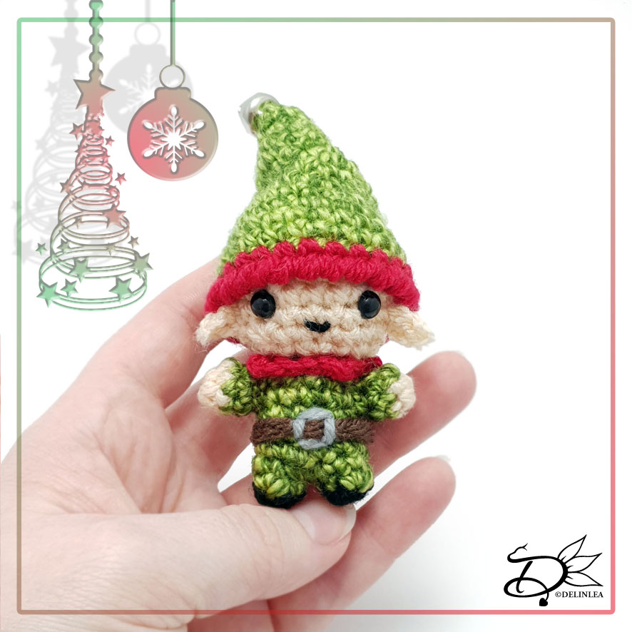 Christmas Elf made with the amigurumi technique
