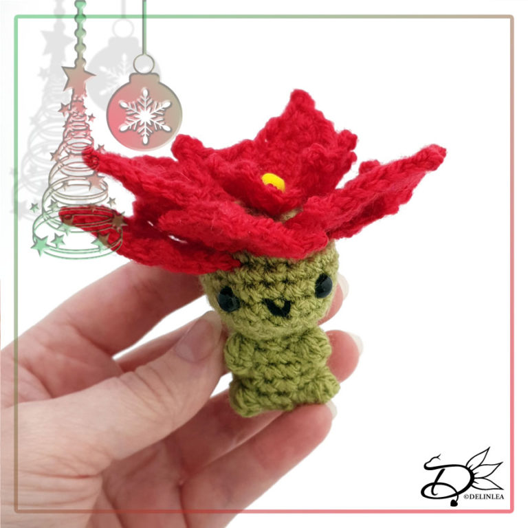 Poinsettia made with Amigurumi