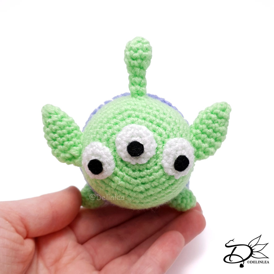 Toy Story Alien TsumTsum made with the Amigurumi Technique