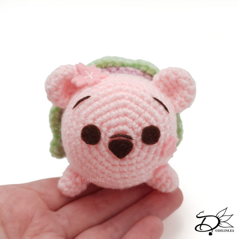 Sakura Mochi Winnie the Pooh Tsum Tsum made with the amigurumi Technique